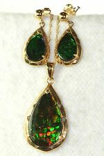 CONTEMPORARY KORITE BRAND 14K GOLD AMMOLITE NECKLACE EARRINGS SET MINT IN BOX
