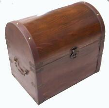 LARGE WOODEN TREASURE CHEST STORAGE BOX novelty old looking s#301 dentist prizes