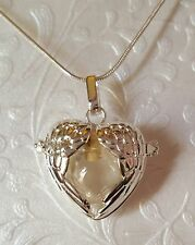 Silver Angel Wings  Locket w/Fillable Glass Orb | Angel Wing Necklace | Locket