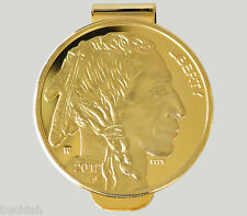 Liberty Buffalo Money Clip $50 Wallet Clips 24k Gold Plated American Indian Head