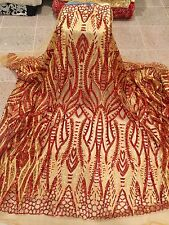 """GOLD MESH W/GOLD EMBROIDERY RED  SEQUIN LACE FABRIC 52"""" WIDE 1 YARD"""