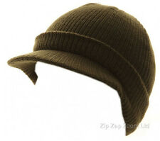 Mens Woolly US Army Military Combat Hat Cap MASH Jeep Peaked Knitted Olive Green