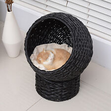 "20.5"" Kitty Rattan Wicker Bed Condo Cat Furniture Pedestal Perch w/ Soft Pillow"