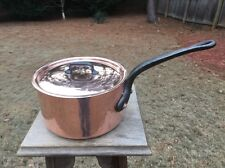 """Dehillerin 3.1mm French 8"""" Mauviel Copper Sauce Pan Tin Lined  W/Stainless Lid"""