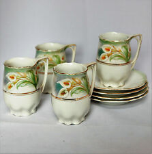 Set of 4 Vintage Bavaria China Demi-Tasse Small Cups & Saucers with Calla Lily
