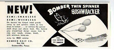 1958 Vintage Ad Bomber Twin Spinner Bushwhacker Fishing Lures