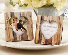 96 Rustic Romance Faux Wood Heart Photo Frame Place Card Holder Wedding Favor