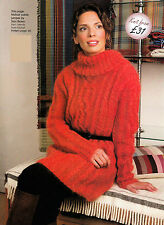 KNITTING PATTERN LADY 94-124cm MOHAIR CABLED SWEATER TURTLENECK L/SLEEVED KM AUA