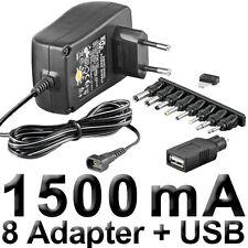 NETZTEIL, STECKERNETZTEIL, 3 - 12 V, 1500mA, stabilisiert, mit 8 Adaptern + USB