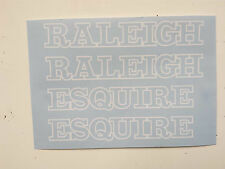"Raleigh ""ESQUIRE"" bike decal/stickers, set of 4 (White Outline Style)"
