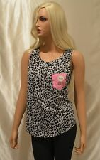 NEW VICTORIA'S SECRET PINK CHEETAH ANIMAL PRINT GRAY POCKET TANK TOP XSMALL XS