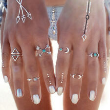 Vintage 6Pcs/1 Set Silver Plated Boho Arrow Moon Midi Finger Knuckle Rings