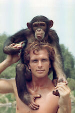 Ron Ely Tarzan TV series 11x17 Mini Poster with chimp on head