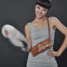 New White Genuine Natural Fox Fur Tail Key Chain Bag Accessory For Bag Handbag
