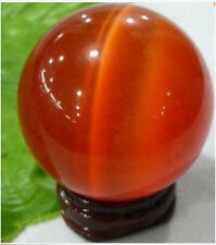 Good Price !! Exquisite Orange Red Cat's Eye Crystal Ball Sphere 40mm+ stand