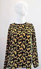 Vintage Salvatore Ferragamo Silk SHOES Print Covered Buttons Blouse Size 4