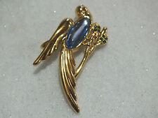 VINTAGE MONET GOLD TONE BLUE CABOCHON GREEN RHINESTONE BIRD BROOCH