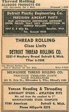 1946 Vanson Heading Threading American Detroit Hogarth Ad