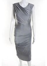T ALEXANDER WANG Gray Drape Detail Knit Dress Sz L
