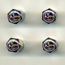Xena Warrior Princess 4 Chrome Plated Brass Tire Valve Caps Car/Bike Xena