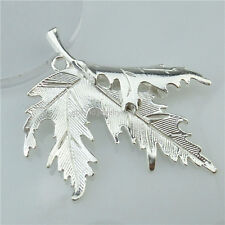 13438 5PCS Alloy Silver Tone Large Leaf Plant Leaves Maple Leaf Pendant Charms