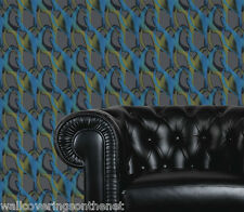 Very Unusual, Shimmering,Grey, Turquoise and Golden Yellow 3D Effect Wallpaper