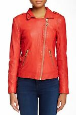 NWT Womens Doma Motta Leather Zip Up Bomber Moto Jacket Coat Mandarine Red *L (M