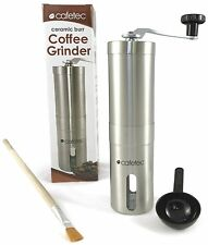 Cafetec Ceramic Burr Manual Coffee Grinder, Stainless Steel, with Extras!