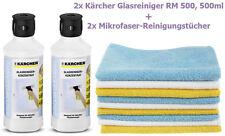 2x 500ml Kärcher Glasreiniger RM 500, 1000ml + 2x Mikrofaser Reinigungstücher
