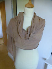Ladies  beige soft scarf in silk & cotton mix tapered ends NEW