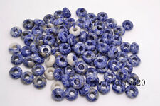 FREE Lots 50ps Blue gemstone Round Loose Beads 5mm Hole Fit European Bracelet