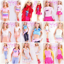Lot 10 Items(5 Pcs Mini Cute Dresses&Clothes 5 Shoes)For Barbie Doll