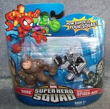 SUPER HERO SQUAD 2008 RHINO & SPIDER-ARMOR SPIDER-MAN SET