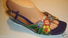 Vintage Annie Slingback Colorful Floral Sandals Clear Wedge Heels Shoes Size 9