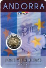 NEW !!! Coin Card 2 EURO COMMEMORATIVO ANDORRA 2015 Accordo Doganale U.E.