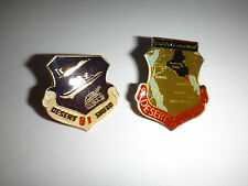 2 US Army Operation DESERT SHIELD + DESERT STORM Lapel Pins, Clutchback Catches