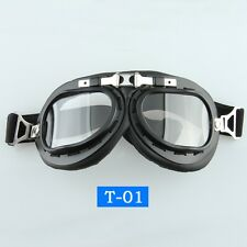Motorcycle ATV Riding Protective Goggles/Glasses Vintage Pilot Biker CLEAR-Lens