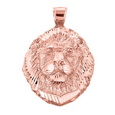 Fine 10k Rose Gold Lion Head Frontal View Pendant (Made in USA)