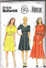 Easy Vintage 40s Retro Shirt Dress Pleat Butterick Sewing Pattern 18 20 22 24 26