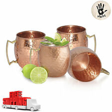 4 Moscow Mule Mug Cup Drinking Hammered Copper Brass Steel Gift Set, 16 Oz NEW