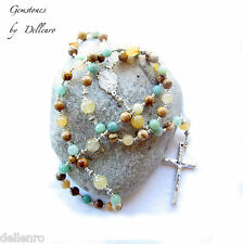 ✫GEMSTONES✫ BEAUTIFUL 5 DECADE HAND CRAFTED ROSARY (Boxed)