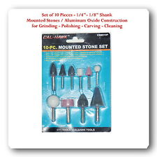 "10 Popular Shapes Mounted Stones Grinding Polishing Cleaning  1/8"" 1/4"" Shank"