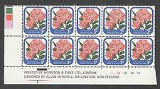 New Zealand 1979 3 Cent Roses Plate BLK 1A UMM MNH