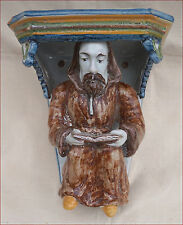 Monk Reading Breviary Statue Wall Hanging Console Faience Faenza Italy 1880