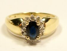 BEAUTIFUL 9ct ORO GIALLO,ZAFFIRO E DIAMANTE SET ANELLO FEDE GIOIELLERIA K-L