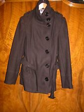 "MILITARY STYLE wool blend BLACK LONG BELTED JACKET- 14/15 - 34"" BUST"