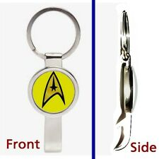 Star Trek Yellow Command Pennant or Keychain silver tone secret bottle opener