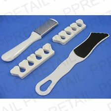 4pc Pedicura Set hard/dead/dry Skin Rallador remover/foot Esmeril file/toe Separador