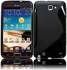 Black S-SHAPE Soft TPU Gel Case Cover for Samsung Galaxy Note LTE SGH-i717 AT&T