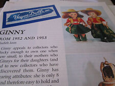 4pg Vogue Ginny Doll MAGAZINE Article 1952 AND 1953 / Judith Izen  b1